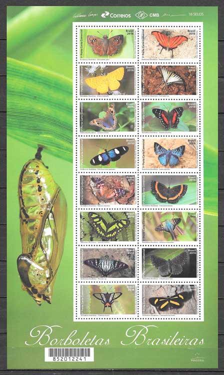 colección sellos mariposas Brasil