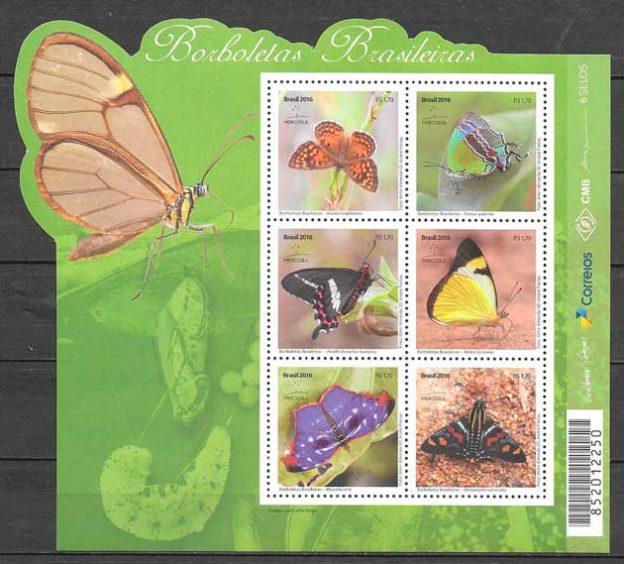 colección sellos mariposas 2016 Brasil