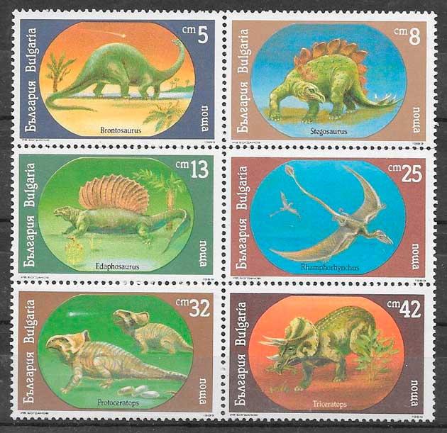 filatelia dinosaurios Bulgaria 1990