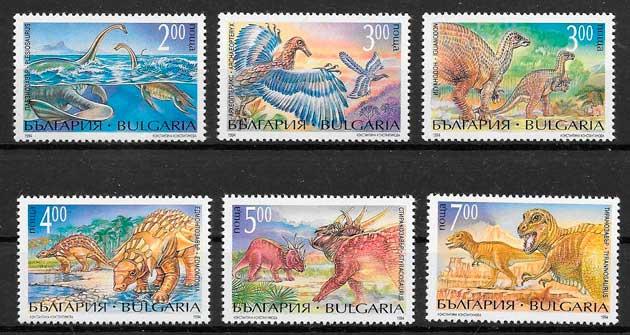 filatelia colección dinosaurios Bulgaria 1994