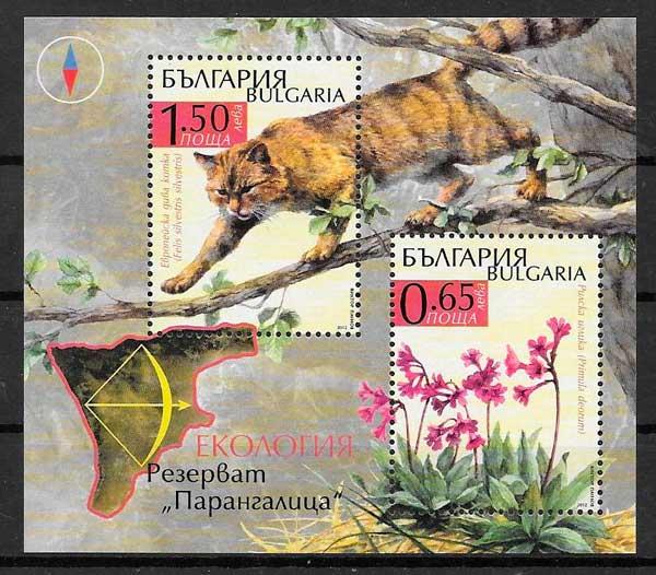 colección sellos fauna y flora Bulgaria 2012