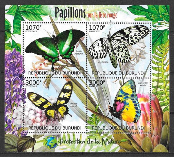 filatelia colección mariposas Burundi 2012