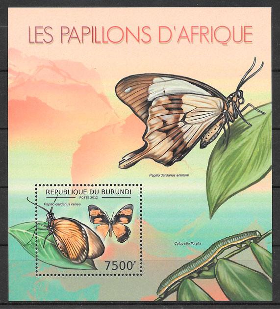 sellos mariposa Burundi 2012