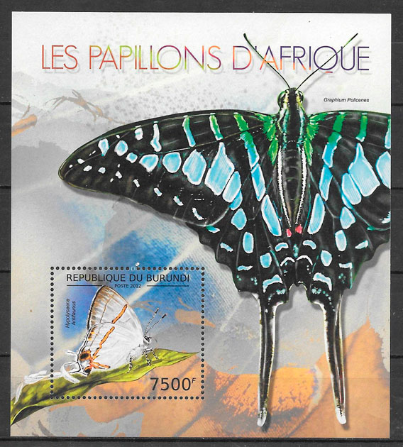filatelia mariposas Burundi 2012