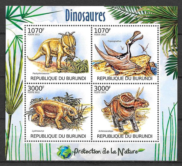 sellos dinosaurios Burundi 2012