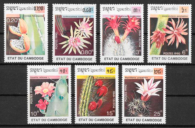 filatelia colección flora Camboya 1990