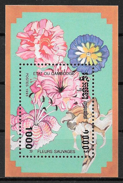 filatelia colección flora Camboya 1993