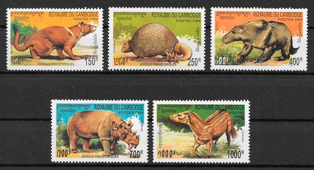 filatelia colección animales prehistóricos Camboya 1994
