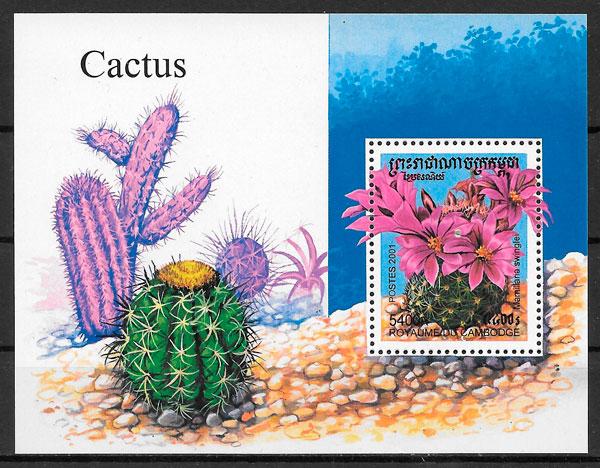 colección sellos flora Camboya 2001