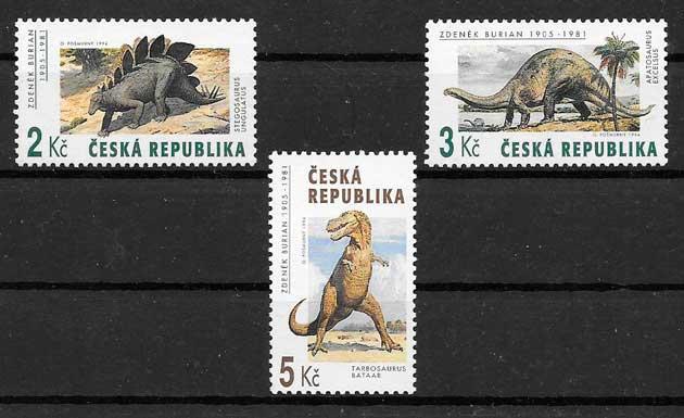 sellos dinosaurios 1994 Chequia