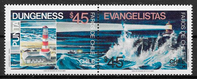 sellos faros Chile 1985