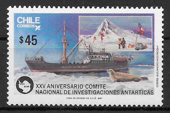 filatelia colección transporte Chile 1987