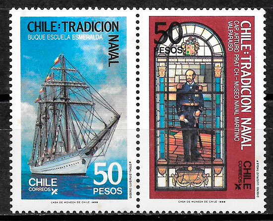 filatelia transporte Chile 1988