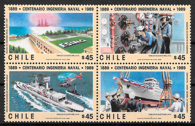 colección sellos transporte Chile 1989