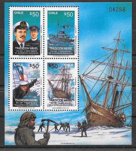 sellos colección transporte Chile 1991