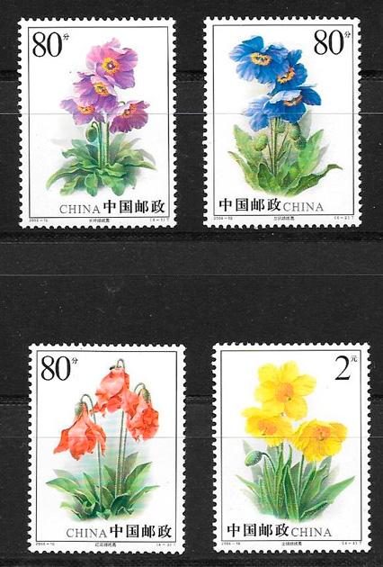 sellos flora China 2004