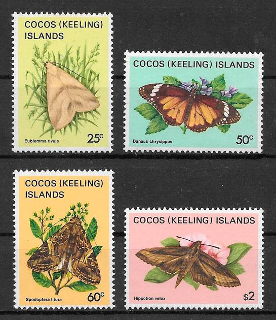 coleción sellos mariposas Cocos Islands 1983