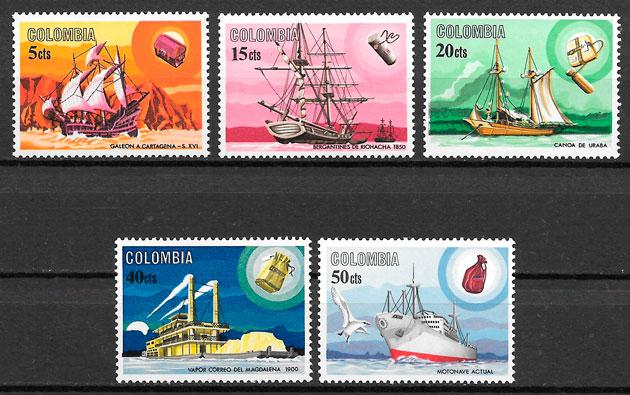 filatelia colección transporte Colombia 1966