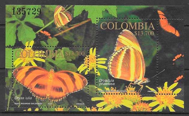 filatelia colección mariposas 2002 Colombia