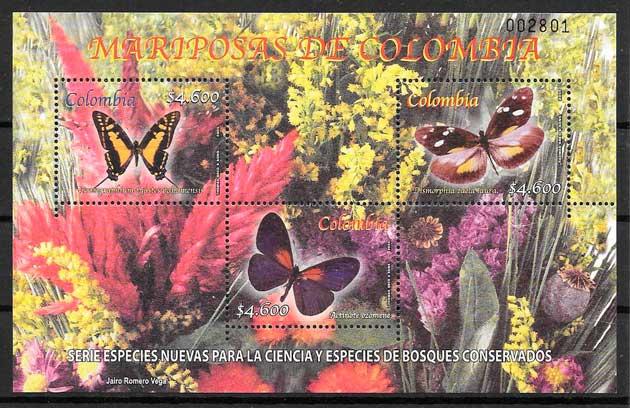 filatelia colección mariposas Colombia 2005