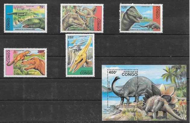 Sellos Filatelia fauna prehistorica del Congo