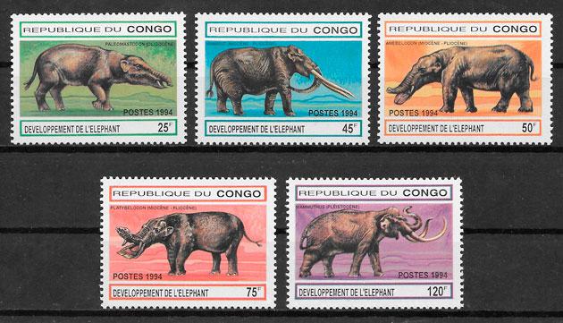 sellos dinosaurios Congo 1994