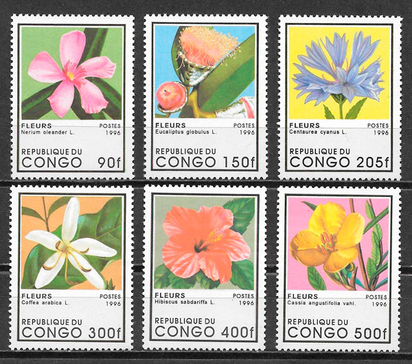 filatelia flora Congo 1996
