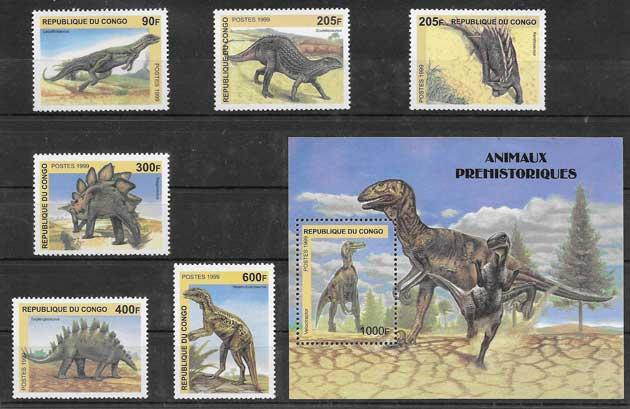 Sellos Filatelia diversos animales prehistorícos