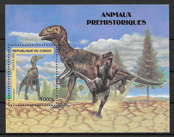 colección sellos dinosaurios Congo 1999