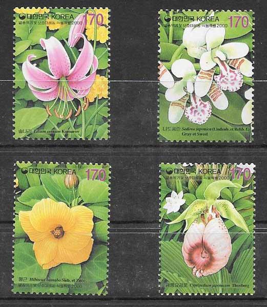 Filatelia flora Corea del Sur 2000