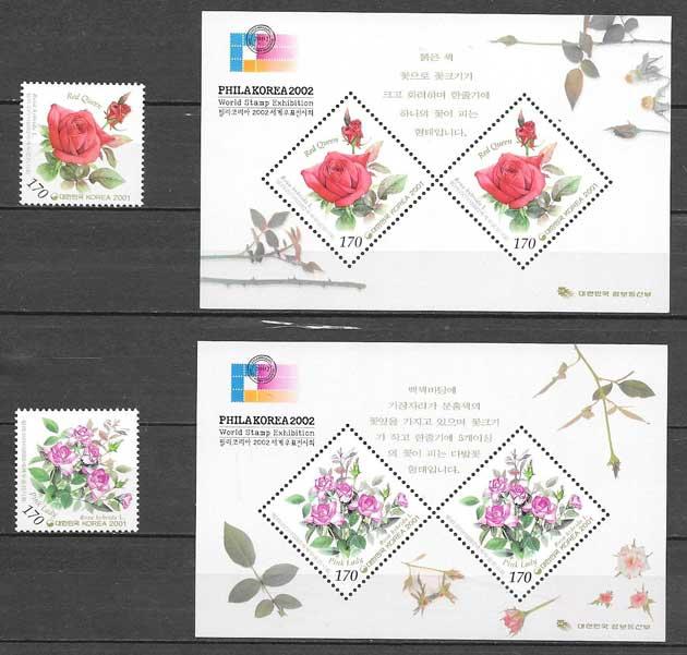colección sellos flora Corea del Sur 2001