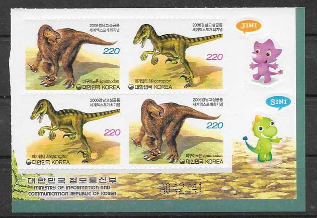 Colección sellos animales prehistóricos