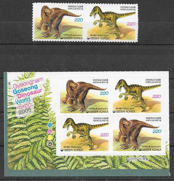 sellos fauna dinosaurios Corea del Sur 2006