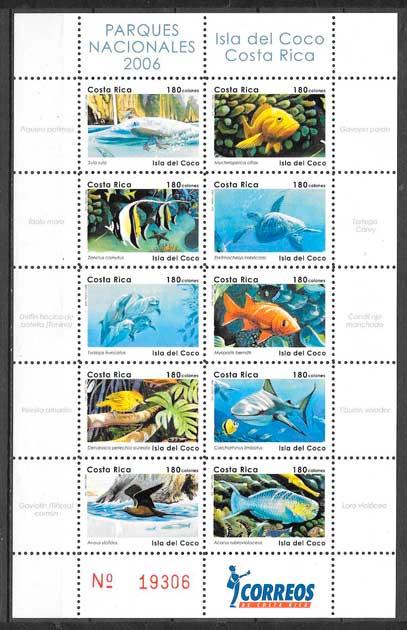 filatelia colección parques naturales Costa Rica 2006