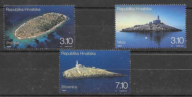 Filatelia Sellos faros de Croacia