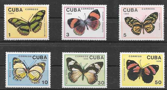 Sellos mariposas de 1989 Cuba