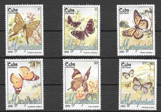 Colección sellos mariposas Cuba 1991