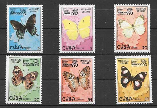 Colección sellos fauna - mariposas Cuba 1993