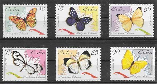 Colección sellos mariposas de Cuba 1995