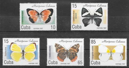 Sellos Filatelia mariposa cubanas 1997