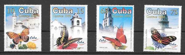Sellos Filatelia fauna mariposas Cuba 1999