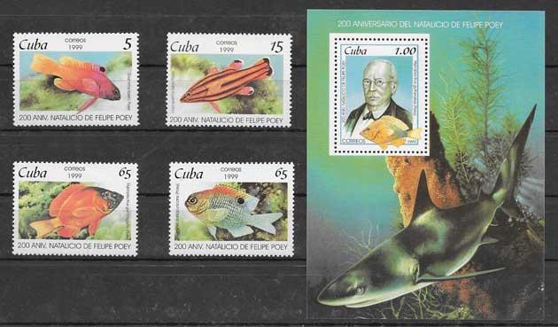 Colección sellos fauna marina Cuba 1999