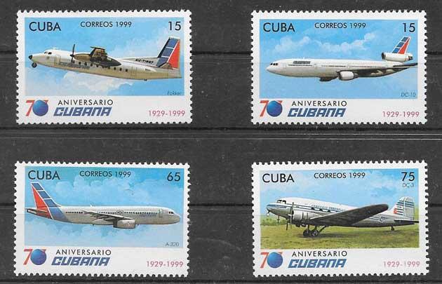 Colección sellos transporte aéreo Cuba 1999
