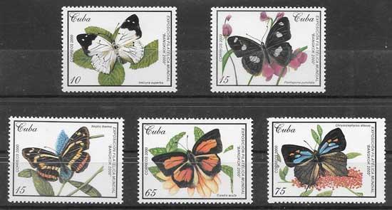 Sellos mariposas cubanas 2000