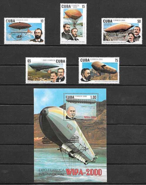 Colección sellos dirigibles Cuba 2000