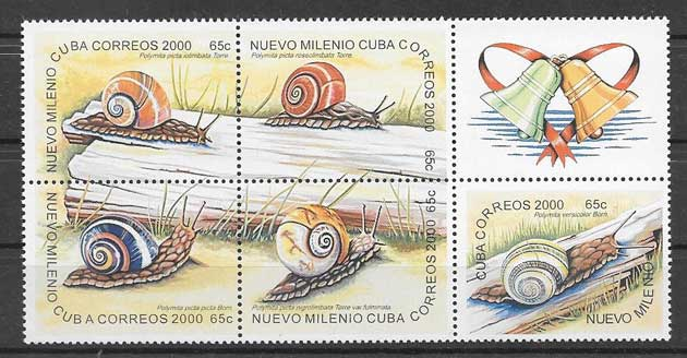 Colección sellos fauna caracoles cubanos