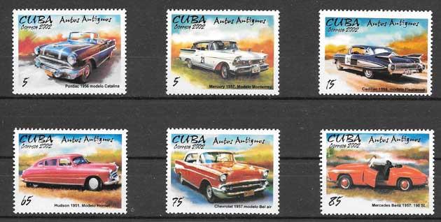 Colección sellos automóviles antiguos Cuba 2002