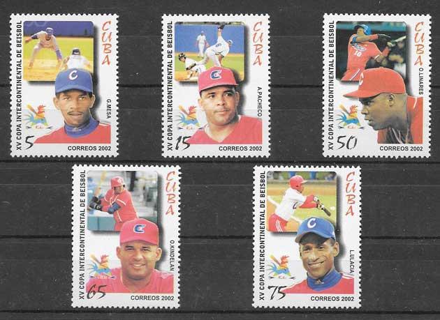 Filatelia selos Beisbol deporte nacional cubano