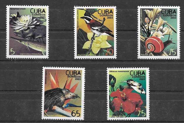 Filatelia fauna y flora Cuba 2003
