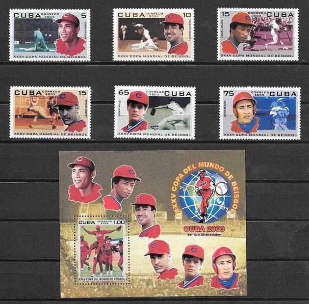 Filatelia Béisbol deporte nacional cubano 2003